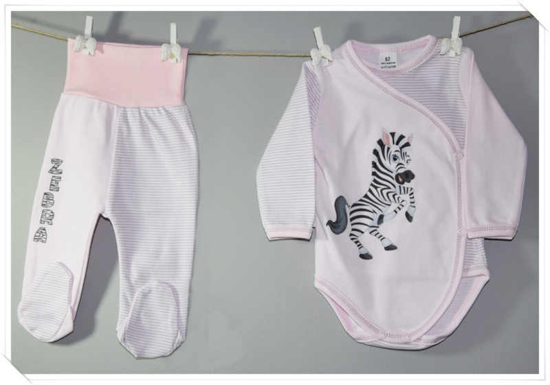 2-dílná kojenecká sada Baby Nellys ® Zebra - růžová proužky