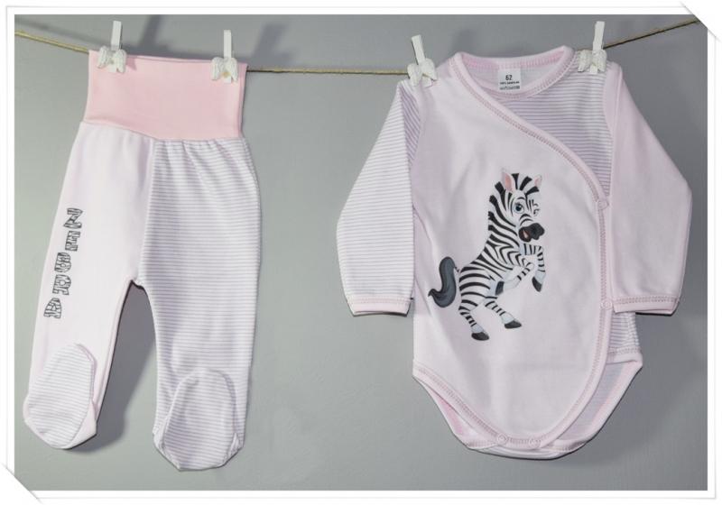 2-dílná kojenecká sada Baby Nellys ® Zebra, vel. 62 - růžová proužky