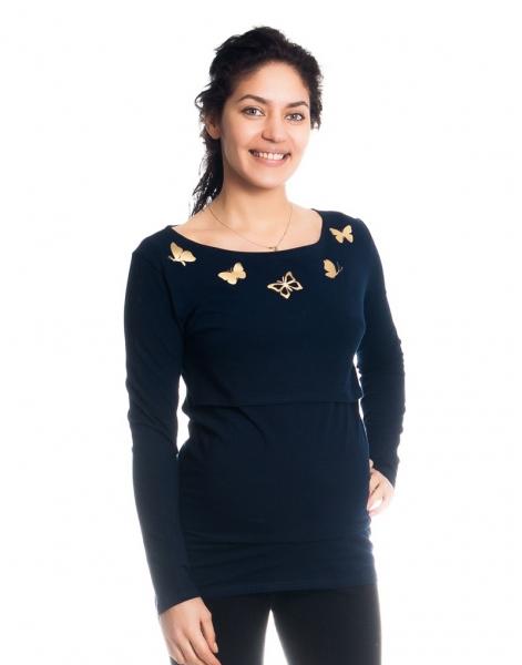 Těhotenské, kojící triko/halenka dl. rukáv s potiskem motýlků - granátové, vel. M