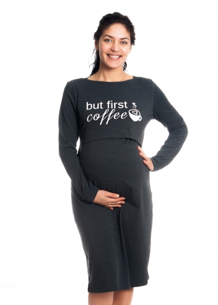 Be MaaMaa Těhotenská, kojící noční košile But First Coffee - grafit, vel. L/XL