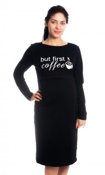Be MaaMaa Těhotenská, kojící noční košile But First Coffee - černá, vel. L/XL, B19