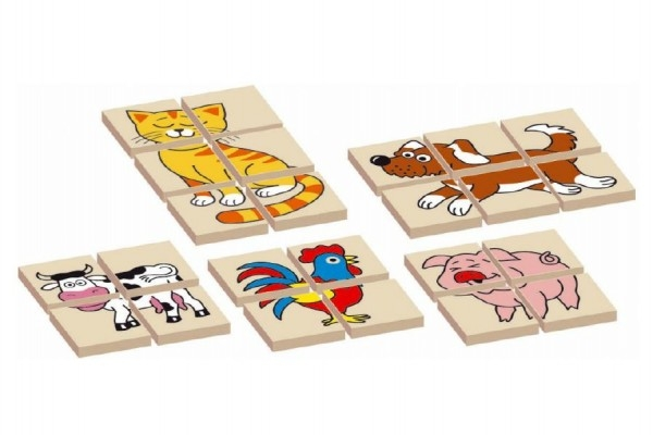 Skládanka zvířátka dřevěná oboustranná 12dílků 5 zvířátek v krabičce 17x12x1,5cm