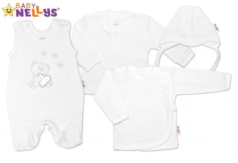 4-dílná kojenecká sada s výšivkou Medvídek srdíčko - bílá
