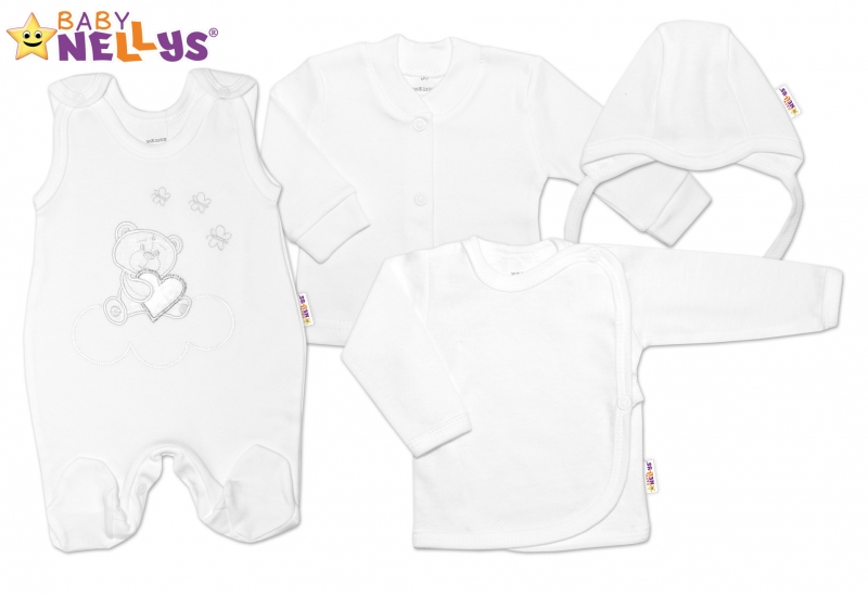 4-dílná kojenecká sada s výšivkou Medvídek srdíčko, vel. 56 - bílá