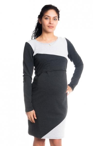 Be MaaMaa Těhotenské/kojící šaty Jane, dlouhý rukáv - grafitové, vel. S