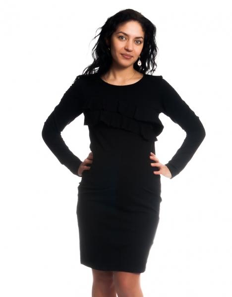 Be MaaMaa Těhotenské/kojící šaty s volánkem, dlouhý rukáv - černé