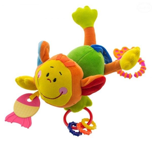 Euro Baby Plyšová hračka s kousátkem a chrastítkem  - Opička - zelená, D19