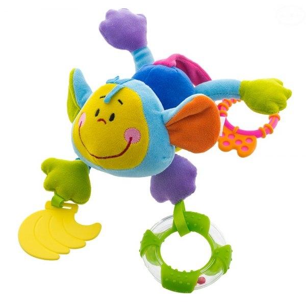 Euro Baby Plyšová hračka s kousátkem a chrastítkem  - Opička - modrá, D19