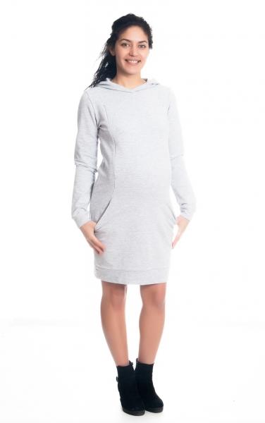 Be MaaMaa Těhotenské/kojící šaty Anais s kapucí, dlouhý rukáv - sv. šedé