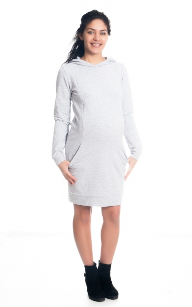 Be MaaMaa Těhotenské/kojící šaty Anais s kapucí, dlouhý rukáv - sv. šedé, vel. S