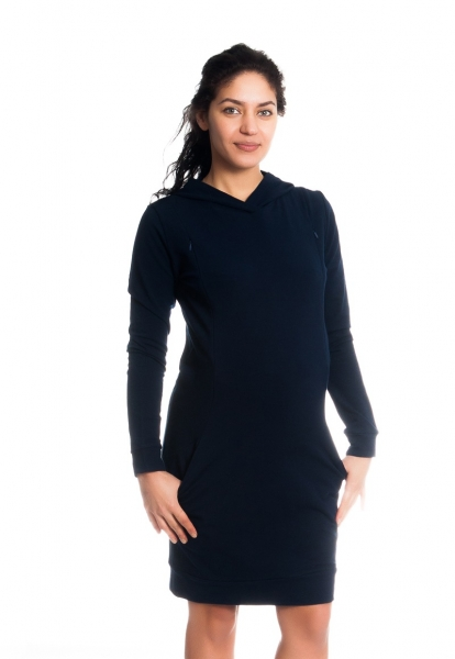 Be MaaMaa Těhotenské/kojící šaty Anais s kapucí, dlouhý rukáv - granátové, vel. L