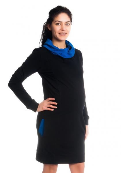 Teplákové těhotenské/kojící šaty Eline, dlouhý rukáv - černé