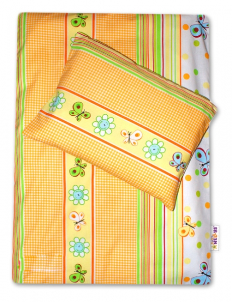 Baby Nellys 4-dílná sada do kočárku - louka pomerančová s kostičkou