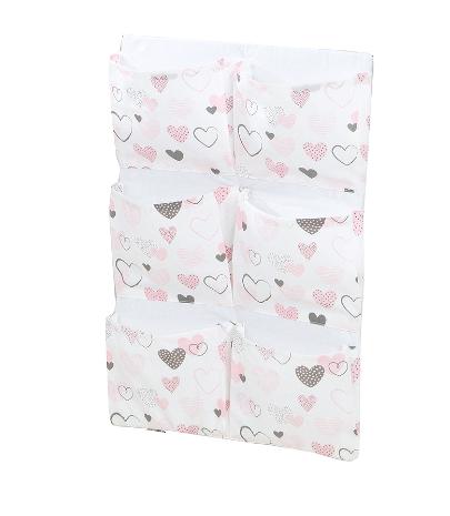 Kapsář 40 x 65 cm - Srdíčka růžové/bílá