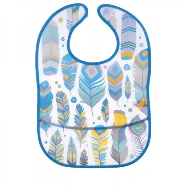 Plastový bryndáček s kapsičkou Wild Nature - tyrkysový