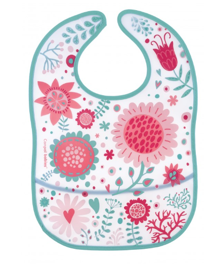 Plastový bryndáček s kapsičkou Wild Nature - růžový