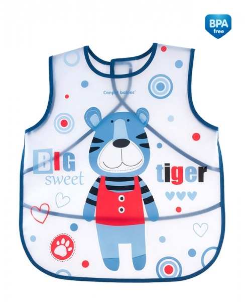 Canpol babies Plastová zástěrka s kapsičkou Puppets - modrá
