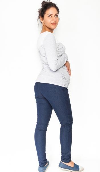 Be MaaMaa Těhotenské kalhoty/jeans Rosa - granátové, vel. M