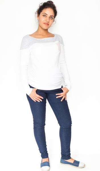 Be MaaMaa Těhotenské kalhoty/jeans Rosa - granátové, vel. XL
