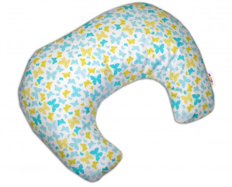 Baby Nellys Kojící polštář/podkova - Motýlci žlutí, modří
