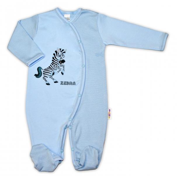 Bavlněný overálek Zebra, vel. 68 - modrá proužky, Velikost: 68 (4-6m)