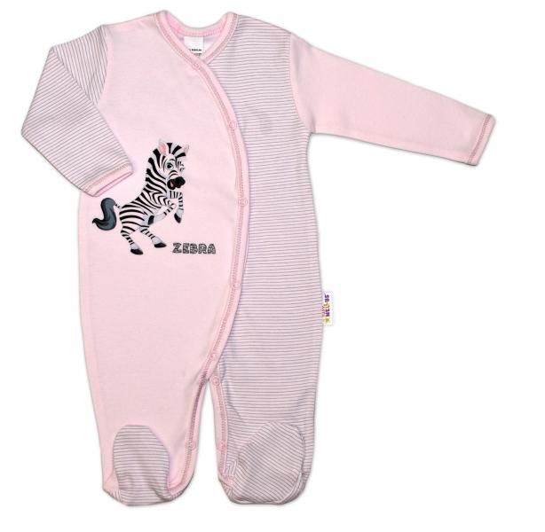 Bavlněný overálek Zebra, vel. 68 - růžová proužky, Velikost: 68 (4-6m)