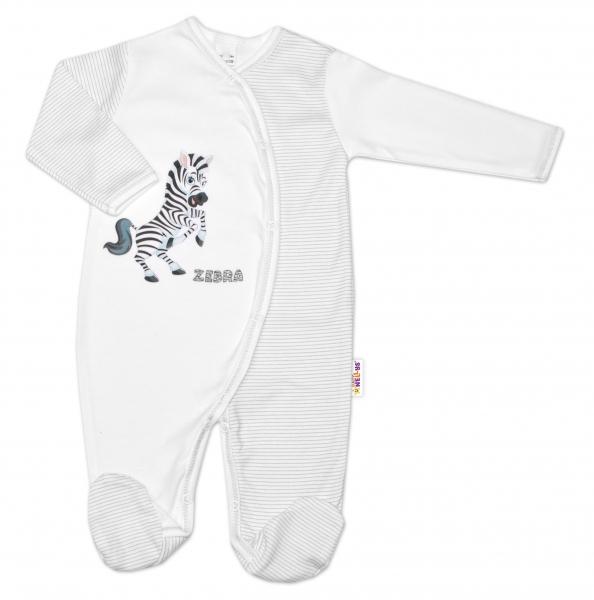 Bavlněný overálek Zebra, vel. 68 - bílá proužky, Velikost: 68 (4-6m)