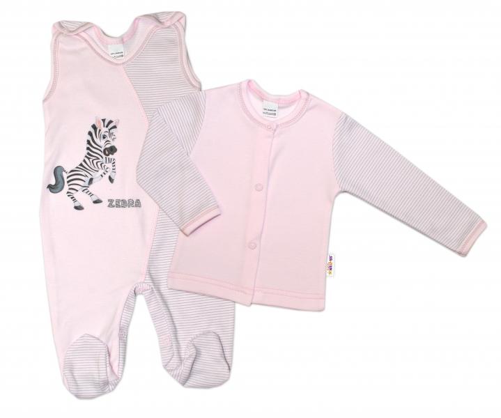 2-dílná kojenecká sada Zebra, vel. 68 - růžová