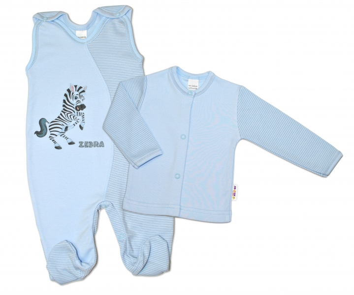2-dílná kojenecká sada Zebra, vel. 62 - modrá