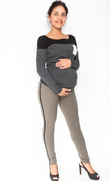 Těhotenské kalhoty s lampasem - khaki, vel. S