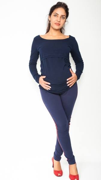 Be MaaMaa Těhotenské kalhoty s lampasem - granátové, vel. XL