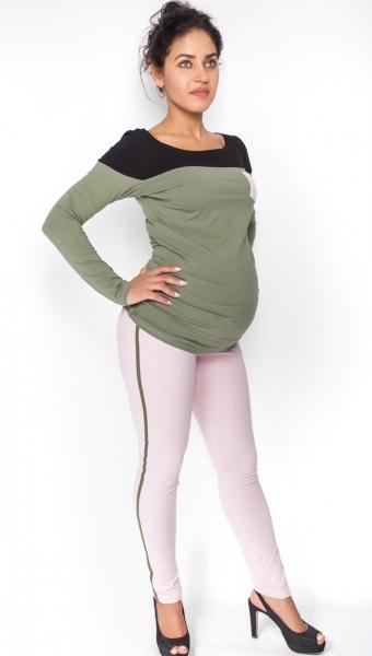 Těhotenské kalhoty s lampasem - sv. růžové, vel. M