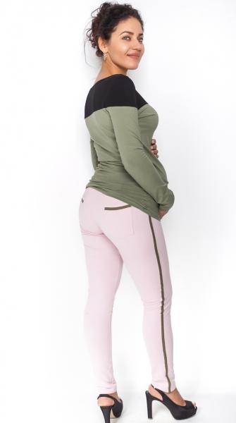 Be MaaMaa Těhotenské kalhoty s lampasem - sv. růžové, vel. L