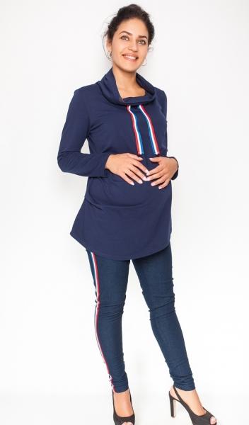 Be MaaMaa Těhotenské kalhoty/jeans s lampasem Tommy - granátové