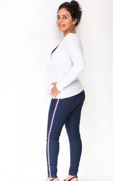 Be MaaMaa Těhotenské kalhoty/jeans s lampasem Tommy - granátové, vel. L