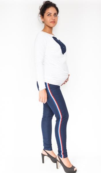 Be MaaMaa Těhotenské kalhoty/jeans s lampasem Tommy - granátové, vel. XL