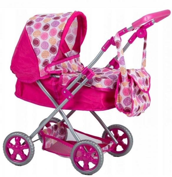 Eco toys Hluboký kočárek pro panenky - tm. růžový