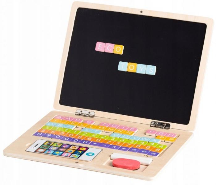 Eco toys Dřevěný notebook s magnetickým monitorem