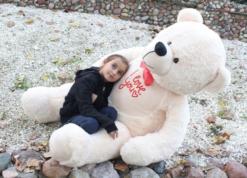 Baby Nellys Plyšový medvěd 180cm - smetanový - I love you