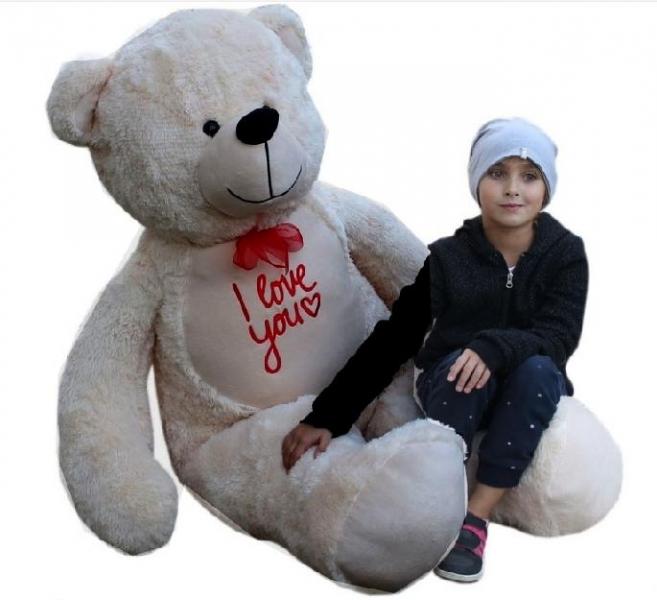 Baby Nellys Plyšový medvěd 180cm - béžový - I love you