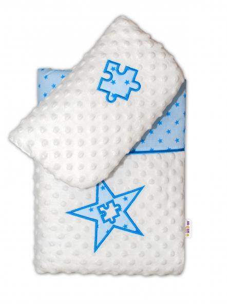 Baby Nellys Sada do kočárku Mini Stars s Minky - modrá