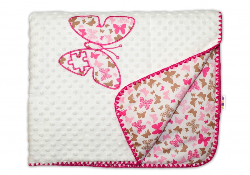 Baby Nellys Luxusní dečka Motýlci s Minky 75x100cm - růžoví
