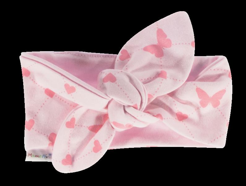 Šátek, čelenka Pin-up Motýlek srdíčko, růžový