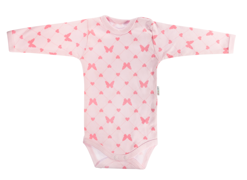 Mamatti Kojenecké body Motýlek srdíčko  - dlouhý rukáv, růžové, vel. 86