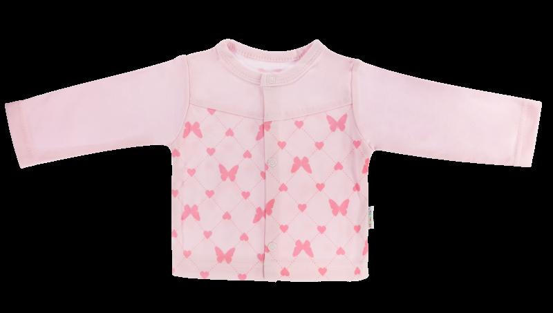 Bavlněná košilka Motýlek srdíčko - růžová, Velikost: 56 (1-2m)