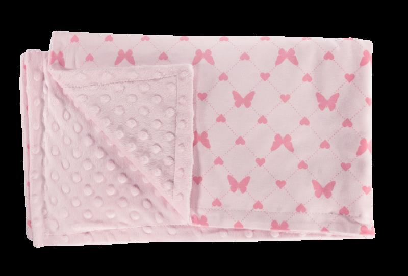 Dětská deka, dečka Motýlek srdíčko, 75x90 - Minky/bavlna, růžová