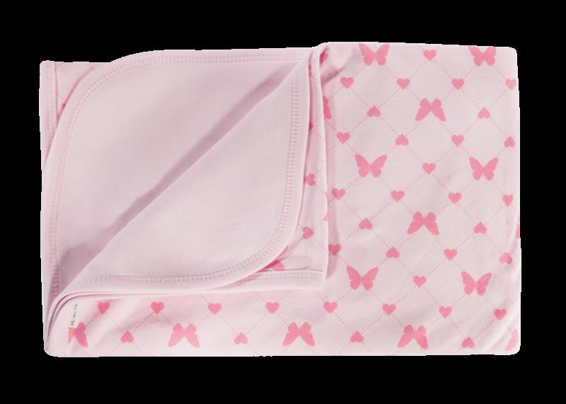 Dětská deka, dečka Motýlek srdíčko,  80x90 - bavlna, růžová