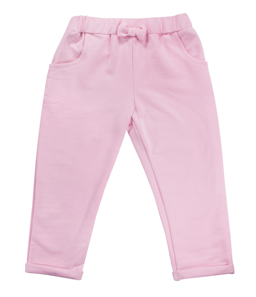 Mamatti Bavlněné tepláčky s mašličkou a kapsami Motýlek srdíčko, růžové, vel. 92vel. 92 (18-24m)
