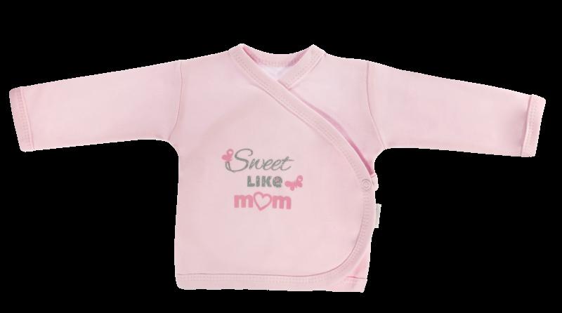 Mamatti Novorozenecká košilka Motýlek srdíčko - zapínání bokem, růžová, Sweet like mum