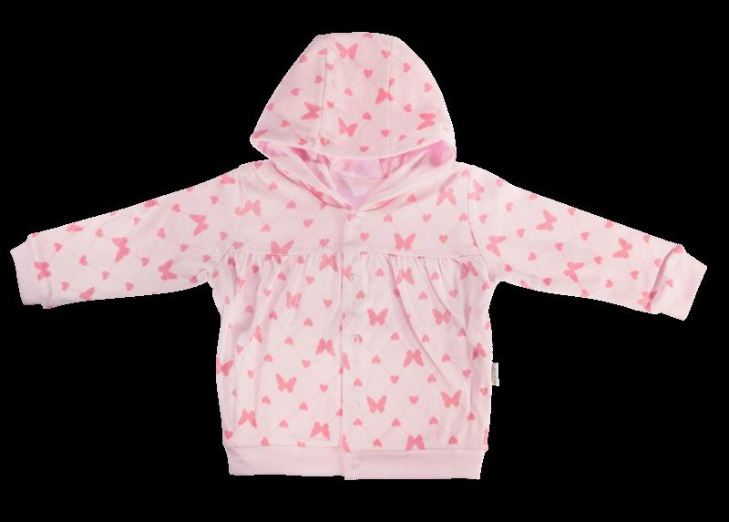 Mikinka Motýlek srdíčko - zapínání uprostřed, růžová, vel. 80, Velikost: 80 (9-12m)